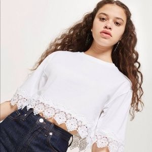 NWT TOPSHOP  Boxy Lace Trim Top
